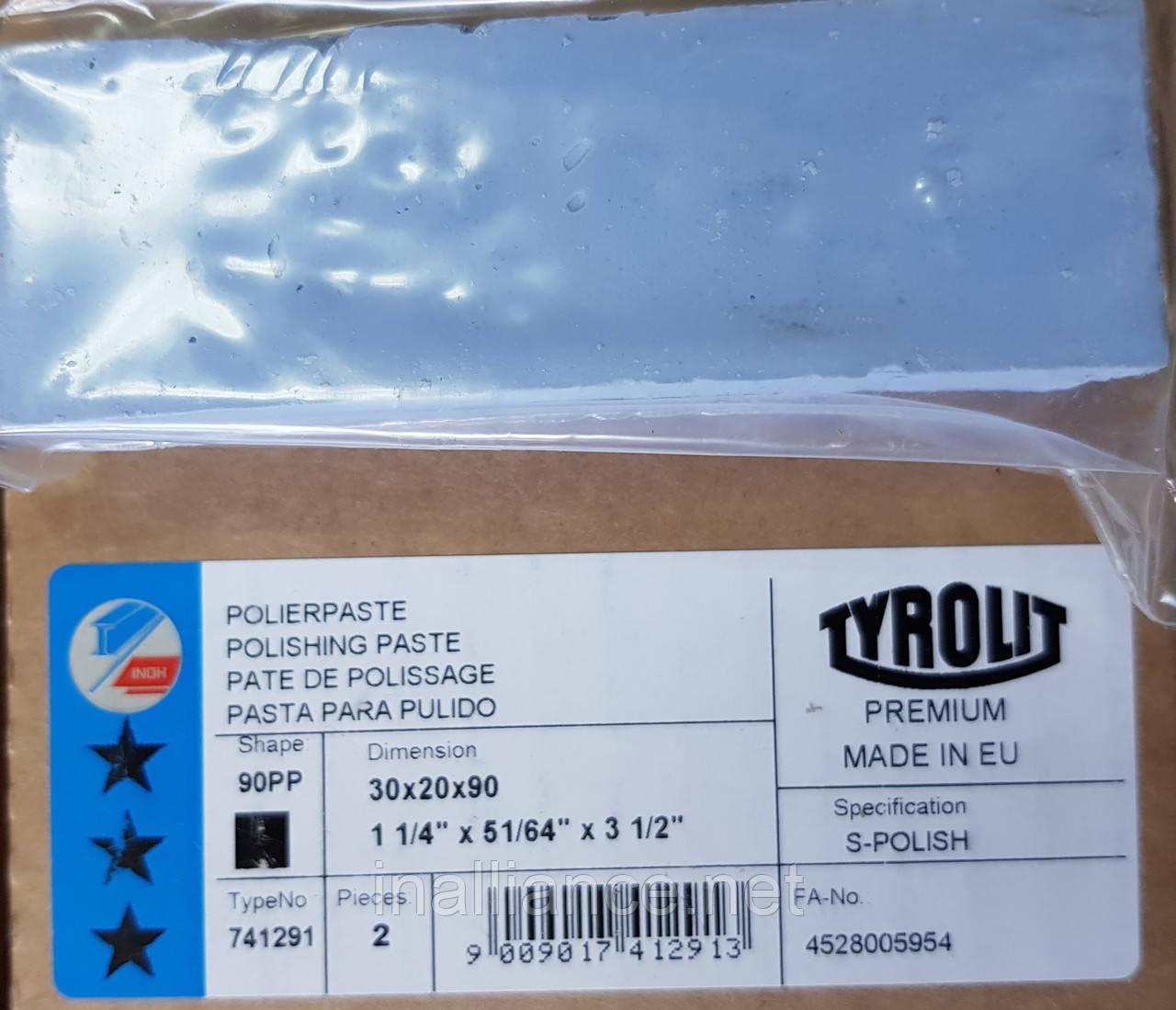 Паста полировальная для стали, нержавеющей стали, нержавейки - твердая синяя S-Polish Tyrolit T741291