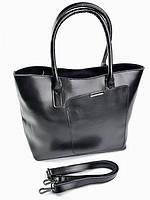 Женская кожаная сумка с ассиметричным карманом A009 черная, фото 1
