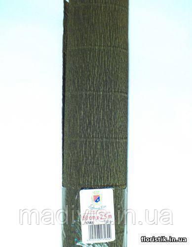 Бумага гофрированная, 17А8 тёмная оливка НОВИНКА