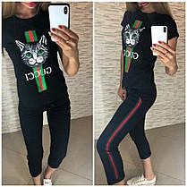 """Костюм """"Кошка GUCCI"""", футболка и брюки 7/8 размеры от S до XXL, фото 3"""