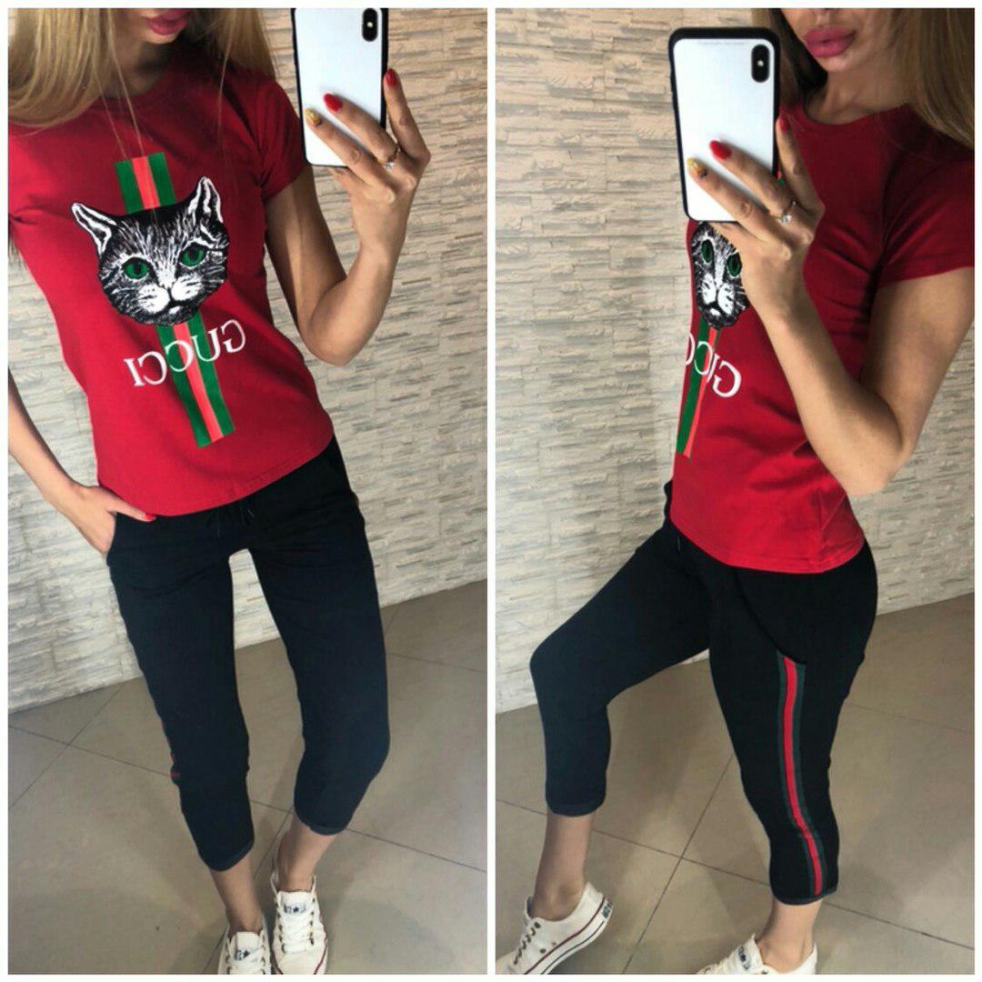 """Костюм """"Кошка GUCCI"""", футболка и брюки 7/8 размеры от S до XXL"""