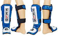 Защита для голени и стопы Муай Тай, ММА, Кикбоксинг кожаная VELO (р-р S-XL, синий)