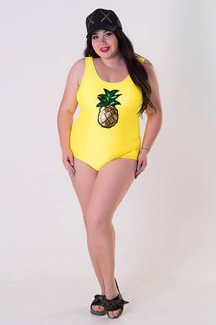 804111f369fed Желтый слитный купальник для полных женщин Ананас. Купить купальники ...