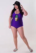 Фиолетовый купальник большого размера Ананас, фото 2