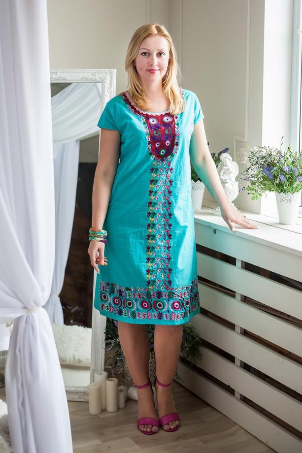Бирюзовое летнее платье из натурального хлопка, Л,ХЛ,ХХЛ