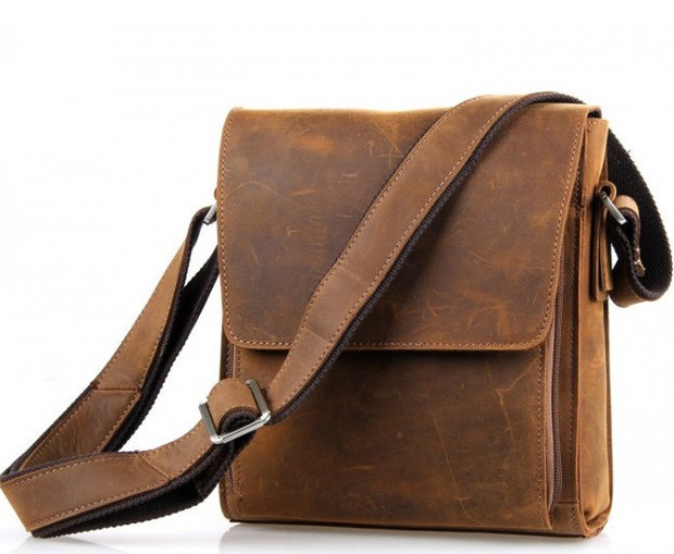78ba193d39ae Мужская кожаная винтажная коричневая casual сумка мессенджер handmade