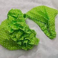 Комплект: Трусики под памперс + бандана-косынка. Цвет - зеленые в крапинку