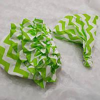 Комплект: Трусики под памперс + бандана-косынка. Цвет - зеленые волны, фото 1