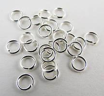 Соединительные колечки, Резные, Круглые, Цвет: серебро, Диаметр 4 мм