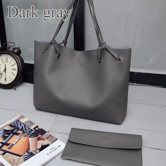 Большая темно серая женская сумка