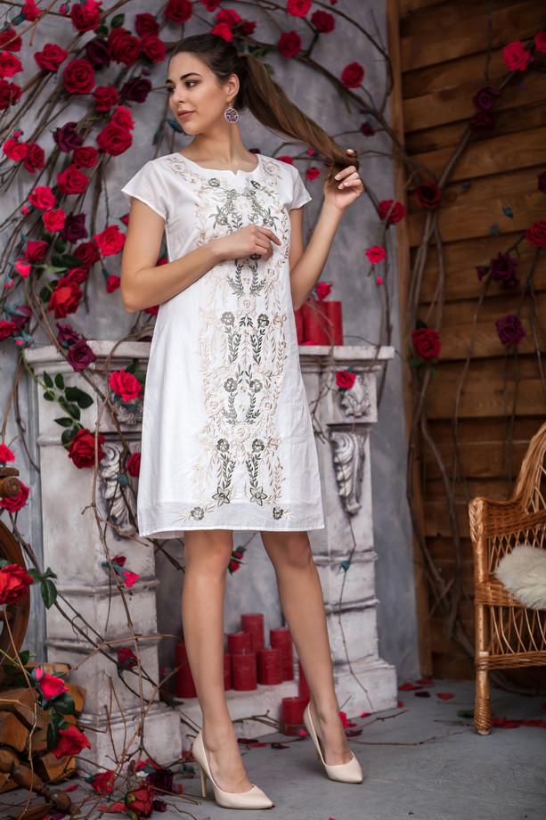 Белое платье с вышитыми цветами и короткими рукавами из натурального хлопка, М,Л,ХЛ,ХХЛ