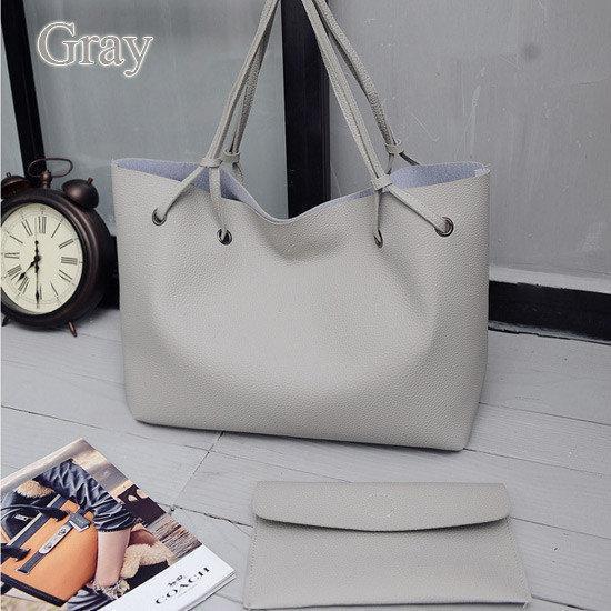 Большая женская серая сумка