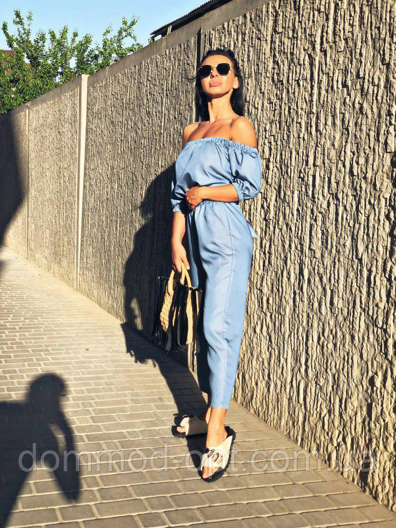 Жіночий річний джинсовий комбінезон Summer \ блакитний