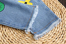 Голубые джинсы с цветочками для девочки, фото 2