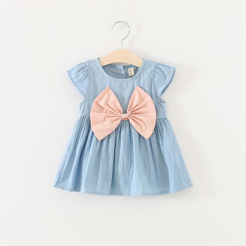 Платье для девочки голубое с розовым бантом