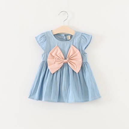 Платье для девочки голубое с розовым бантом, фото 2