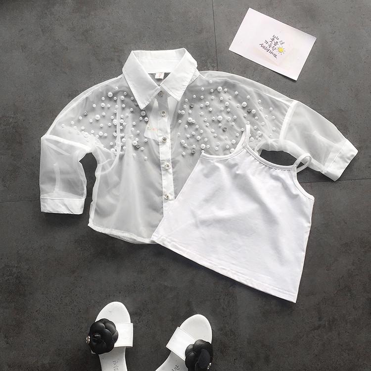 Двойка-белая майка и рубашка с бисером для девочки