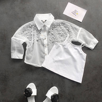 Двойка-белая майка и рубашка с бисером для девочки, фото 2