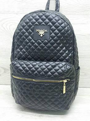 Молодёжный женский рюкзак кожзам стёганый, фото 2