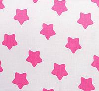 Простынь на резинке в детскую коляску BabySoon хлопок Розовые звезды на белом 80х40 см