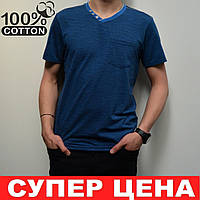 Залишились розміри: 46,48. Чоловіча футболка 100% бавовна, класичний стиль, V-подібний виріз - синього кольору