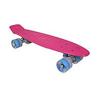 Скейтборд SK8 Vintage 22.5' со светящимися колесами, розовый, до 100кг, AWAII, фото 1
