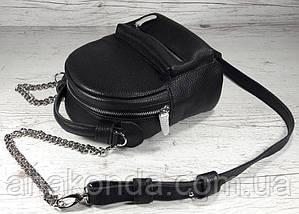 360 Натуральная кожа, Женская поясная сумка/кросс-боди - мини-рюкзачок черный, фото 3
