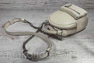 361 Натуральная кожа, Женская поясная сумка/кросс-боди - мини-рюкзачок молочный (экрю), фото 2