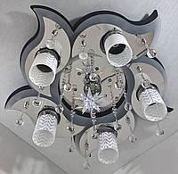 """Люстра потолочная """"Космос"""" с цветной LED подсветкой и автоматическим отключением с пультом (20х58х58 см.) Черный, хром YR-5521/5+1"""