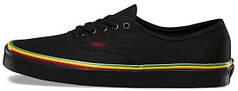Мужские кеды Vans Authentic (Rasta) Black / Black Skate Shoes. ТОП Реплика ААА класса.