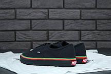 Женские кеды Vans Authentic (Rasta) Black / Black Skate Shoes. ТОП Реплика ААА класса., фото 3