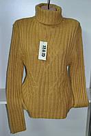 Женский зимний свитер под горло горчичного цвета