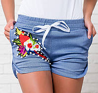 Женские джинсовые шорты с гипюром. Р-ры: 42,44,46,48.
