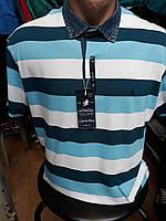 Мужская футболка поло. Мужская тенниска с джинсовым воротником