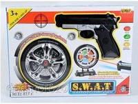 Тир електронный: пистолет, мишень, лазер на батарейках в коробке 26,0*6,0*35,0 см