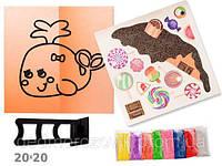 Набор для творчества Рисование пастообразующим песком (14 видов, глянцевый картон, подставка, 8 цвет