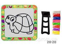 Набор для творчества Рисование пастообразующим песком (21 вид, глянцевый картон, подставка, 8 цветов