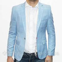 Голубой пиджак в белую клетку