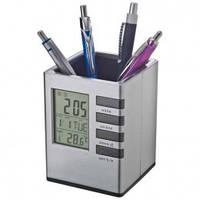 Подставка карандашница с часами