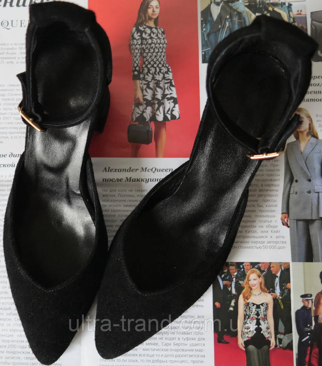 Комфортные туфли Limoda из натуральной замши босоножки на каблуке 6 см черные
