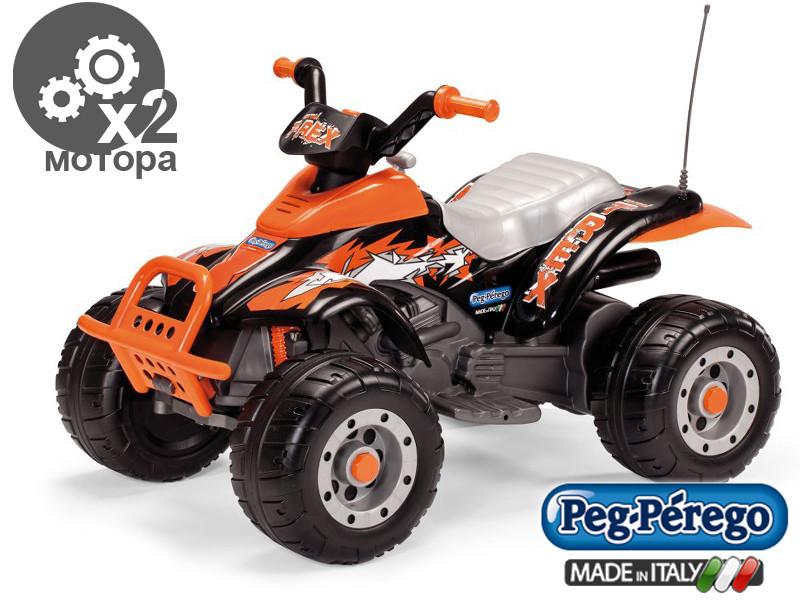 Детский квадроцикл Peg Perego T-REX 12V черно-оранжевый, мощность 280W