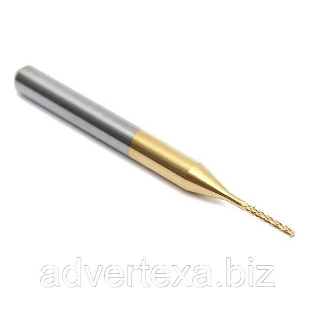 Фреза 0.8 мм 3.175мм с титановым покрытием общей длиной 36мм для гравировки на ЧПУ станках CNC