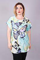 Женская яркая футболка с абстрактным принтом больших размеров 8813
