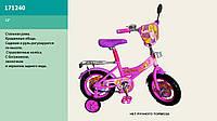 "Велосипед 2-х колес 12"", со звонком, зеркалом, без ручного тормоза (1шт)(171240)"