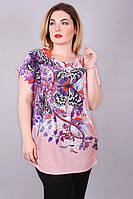 Женская удлиненная футболка больших размеров 8818