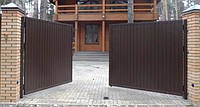 Розпашні ворота на отвір 4000х2000 з зашиттям профнастилом, фото 1