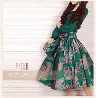 Цветочный принт ретро юбка