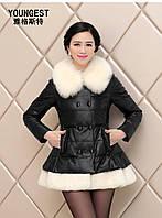 С роскошным меховым воротником лиса, элегантная кожаная куртка, фото 1