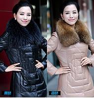 Длинное кожаное пальто 2 цвета, фото 1