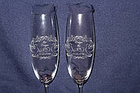 Подарочный свадебный бокал с гравировкой колец, фото 1